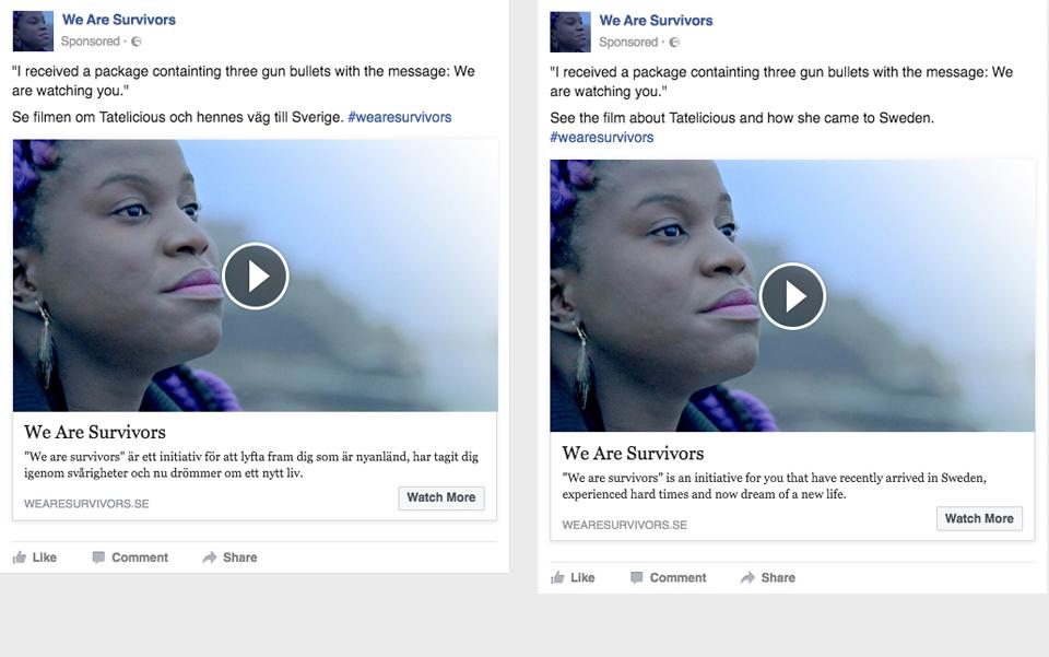 We Are Survivors Facebook ad