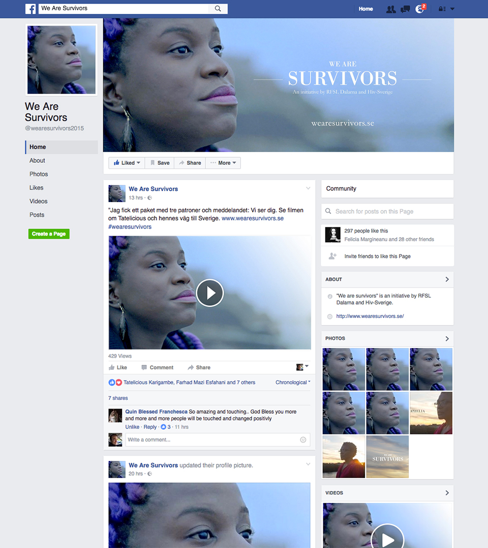 We Are Survivors Facebook page